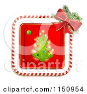 Clipart Of A Candy Cane Border Around A Christmas Tree Royalty Free Vector Clipart