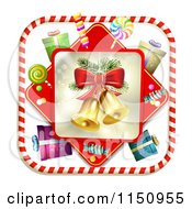 Clipart Of A Candy Cane Border Around Christmas Bells Gifts And Candy Royalty Free Vector Clipart