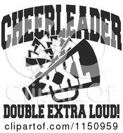 Cartoon Of Black And White Cheerleader Xxl Double Extra Loud Text With A Pom Pom And Megaphone Royalty Free Vector Clipart