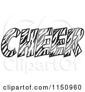 Cartoon Of A Zebra Print CHEER Royalty Free Vector Clipart