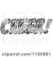 Cartoon Of A Zebra Print CHEER With An Exclamation Point Royalty Free Vector Clipart