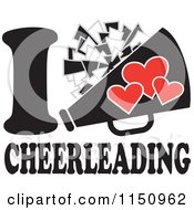 Cartoon Of I Heart Cheerleading With A Pom Pom And Megaphone Royalty Free Vector Clipart