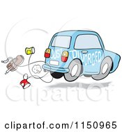 Cartoon Of A Blue Just Divorced Car With Cans And A Shoe Royalty Free Vector Clipart