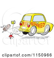 Cartoon Of A Yellow Just Married Car With Cans And A Shoe Royalty Free Vector Clipart