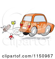 Cartoon Of An Orange Just Living Together Car With Cans And A Shoe Royalty Free Vector Clipart