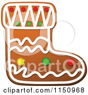 Clipart Of A Christmas Stocking Gingerbread Cookie Royalty Free Vector Clipart
