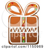 Clipart Of A Christmas Gift Gingerbread Cookie Royalty Free Vector Clipart