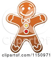 Clipart Of A Christmas Gingerbread Man Cookie Royalty Free Vector Clipart