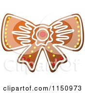Clipart Of A Christmas Bow Gingerbread Cookie Royalty Free Vector Clipart