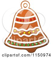 Clipart Of A Christmas Bell Gingerbread Cookie Royalty Free Vector Clipart