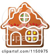 Clipart Of A Christmas Gingerbread House Cookie Royalty Free Vector Clipart