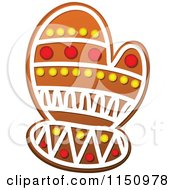 Clipart Of A Christmas Mitten Gingerbread Cookie Royalty Free Vector Clipart