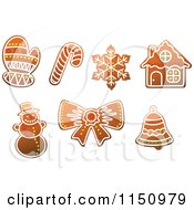 Clipart Of Gingerbread Christmas Cookies 4 Royalty Free Vector Clipart