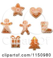Clipart Of Gingerbread Christmas Cookies 3 Royalty Free Vector Clipart