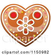 Clipart Of A Christmas Heart Gingerbread Cookie Royalty Free Vector Clipart