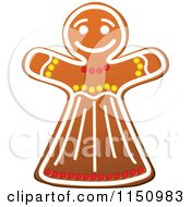 Clipart Of A Christmas Gingerbread Woman Cookie Royalty Free Vector Clipart