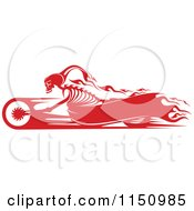 Red Flaming Skeleton Biker On A Motorcycle With Copyspace