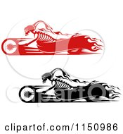 Clipart Of Black And Red Flaming Skeleton Bikers On Motorcycles With Copyspace Royalty Free Vector Clipart