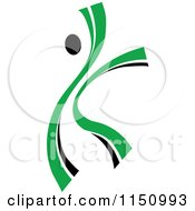 Clipart Of A Dancing Green Person Royalty Free Vector Clipart