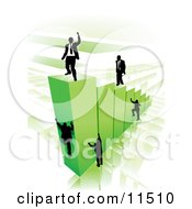 Businessmen Climbing Green Bars To Reach The Top Where A Proud Business Man Stands