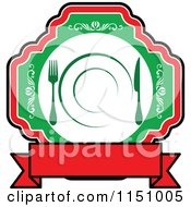 Clipart Of A Red And Green Restaurant Cafe Or Diner Logo 2 Royalty Free Vector Clipart