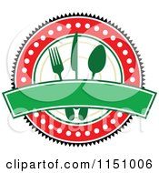 Clipart Of A Red And Green Restaurant Cafe Or Diner Logo Royalty Free Vector Clipart by Vector Tradition SM