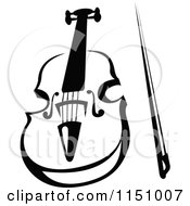 Clipart Of A Black And White Viola Or Fiddle Violin 4 Royalty Free Vector Clipart