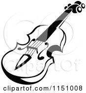 Clipart Of A Black And White Viola Or Fiddle Violin 5 Royalty Free Vector Clipart