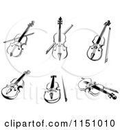 Clipart Of Black And White Violas Or Fiddle Violins Royalty Free Vector Clipart