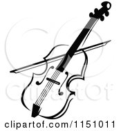Clipart Of A Black And White Viola Or Fiddle Violin Royalty Free Vector Clipart