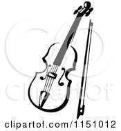 Clipart Of A Black And White Viola Or Fiddle Violin 3 Royalty Free Vector Clipart