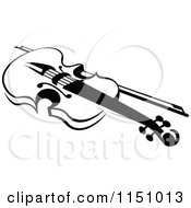 Clipart Of A Black And White Viola Or Fiddle Violin 6 Royalty Free Vector Clipart