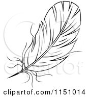 Clipart Of A Black And White Feather 6 Royalty Free Vector Clipart by Vector Tradition SM
