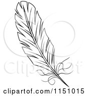 Clipart Of A Black And White Feather 5 Royalty Free Vector Clipart by Vector Tradition SM