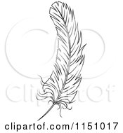 Clipart Of A Black And White Feather 4 Royalty Free Vector Clipart
