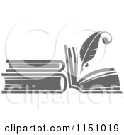 Clipart Of A Grayscale Feather Quill Pen And Books Royalty Free Vector Clipart