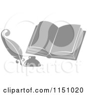 Clipart Of A Grayscale Feather Quill Pen Ink Well And Open Book Royalty Free Vector Clipart