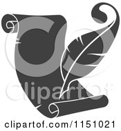Clipart Of A Grayscale Quill Pen And Scroll Royalty Free Vector Clipart