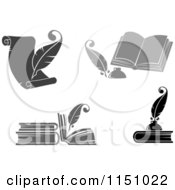Clipart Of Grayscale Feather Quill Pens And Books Royalty Free Vector Clipart