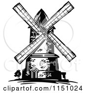 Clipart Of A Black And White Windmill 2 Royalty Free Vector Clipart