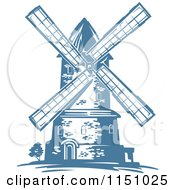 Clipart Of A Blue Windmill Royalty Free Vector Clipart by Vector Tradition SM