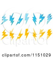 Clipart Of Blue And Yellow Lightning Bolts Royalty Free Vector Clipart