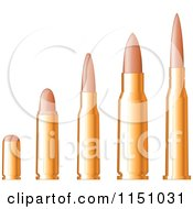 Clipart Of A Line Up Of Gold Bullets Royalty Free Vector Clipart