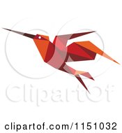 Clipart Of A Red Origami Hummingbird Royalty Free Vector Clipart