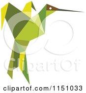Green Origami Hummingbird