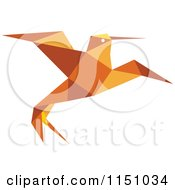 Orange Origami Hummingbird