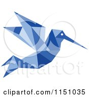 Clipart Of A Blue Origami Hummingbird Royalty Free Vector Clipart
