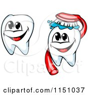 Clipart Of Happy Tooth Mascots And Brush Royalty Free Vector Clipart