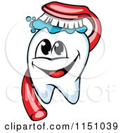 Clipart Of A Happy Tooth Mascot And Brush Royalty Free Vector Clipart by Vector Tradition SM