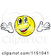 Cartoon Of A Friendly Yellow Emoticon Smiley Royalty Free Vector Clipart
